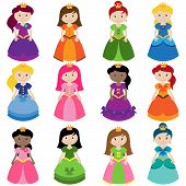 stock photo of cinderella  - Cute Vector Collection of Pretty Princesses or Queens - JPG