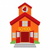 stock photo of school building  - Cute Orange and Red Vector School Building - JPG