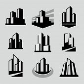 stock photo of skyscrapers  - Vector city buildings silhouette icons - JPG