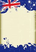 Grunge Australian flag. A poster with a large scratched frame and a grunge australian flag for your