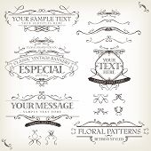 image of sketch  - Illustration of a set of retro labels frames sketched banners floral patterns ribbons and graphic design elements on vintage old paper background - JPG