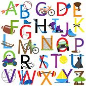 picture of luge  - Cute Colorful Uppercase Vector Sports Alphabet Collection - JPG