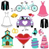 stock photo of tandem bicycle  - Vector Set of Wedding and Bridal Themed Images - JPG