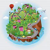 Постер, плакат: Миниатюрные глобус Вектор Разнообразные ландшафты как горы пляж океан город города леса а также