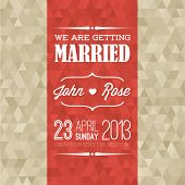 Vector retro Typography Wedding invitation with background made from golden triangles