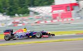 MOSCOW - JUNE 23: David Marshall Coulthard makes a show on a Formula 1 Red Bull Infiniti car at Worl