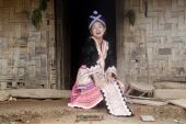 pic of hmong  - Asian woman Laos in traditional clothes Hmong in a Hmong village near Vang Vieng - JPG