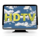 stock photo of high-def  - An HDTV flatscreen television on white background - JPG