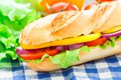 stock photo of tomato sandwich  - Vegetarian baguette sandwich with lettuce - JPG