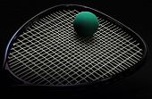 Racquetball racquet with ball