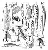 stock photo of trout fishing  - Vector illustration of artificial fishing baits on transparent background - JPG