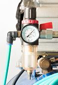 picture of air pressure gauge  - pressure gauge and air filter regulator on Air Pump - JPG