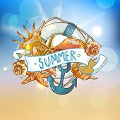 image of lifeline  - Summer Card with Sea Shells - JPG
