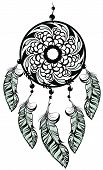 picture of dream-catcher  - Dream catcher silhouette of a feather on a white background - JPG