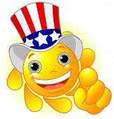 pic of uncle  - Cute and shiny Sun with Uncle Sam hat pointing to us - JPG
