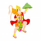 stock photo of hanuman  - easy to edit vector illustration of Lord Hanuman in floral design - JPG