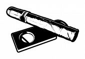picture of cigar  - Black and white vector illustration of a cigar laying on top of a cigar cutter - JPG