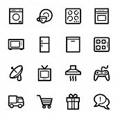 stock photo of dishwasher  - Home appliances web icons set - JPG