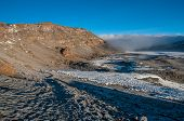 picture of kilimanjaro  - Inside the crater of Kilimanjaro with Uhuru Peak the far point in the distance - JPG