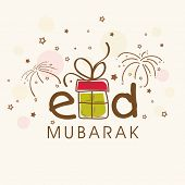 image of ramadan mubarak card  - Eid Mubarak celebrations greeting card design with stylish text and gift box on fireworks background - JPG