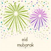 stock photo of eid mubarak  - Colorful fireworks for Muslim community festival Eid Mubarak celebrations - JPG