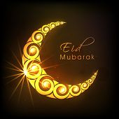 stock photo of eid al adha  - Golden floral decorated crescent moon on shiny brown background for Muslim community festival Eid Mubarak celebrations - JPG