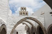 stock photo of revelation  - Saint John the Evangelist monastery at Patmos island in Greece - JPG