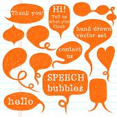 picture of bubbles  - Big set of hand drawn speech bubbles on lined notebook paper background - JPG