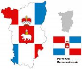 pic of perm  - Outline map of Perm Krai with flag - JPG