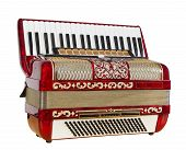 stock photo of outdated  - red accordion musical instrument play music outdated device - JPG