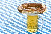 Oktoberfest pretzel on beer stein