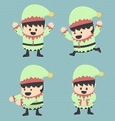stock photo of elf  - Christmas Elves and different poses vector eps10 - JPG
