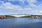 picture of curacao  - Queen Juliana bridge crossing Saint Anna bay at the harbor of Willemstad - JPG