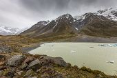 foto of hooker  - Hooker Lake in Mount Cook National Park New Zealand - JPG