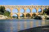 stock photo of gaul  - Roman aqueduct at Pont du Gard France UNESCO World Heritage Site - JPG