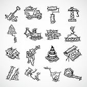 pic of dozer  - Construction sketch decorative icons set with crane truck hammer isolated vector illustration - JPG