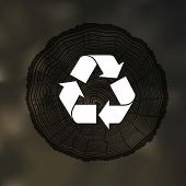 image of reuse  - Tree Rings background with Reuse Symbol - JPG