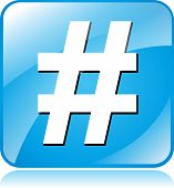 picture of hashtag  - illustration of blue square icon for hashtag - JPG