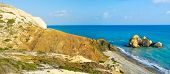 image of saracen  - The Saracen rock on the Paphos coastneighboring with the famous Petra tou Romiou and the Aphrodite harbor Cyprus - JPG