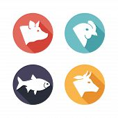 image of veal meat  - Vector illustration Meat animals icons - JPG