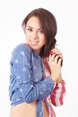 stock photo of shy girl  - Cute shy girl in a shirt with style of the USA flag  - JPG