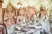 image of hindu-god  - Ancient stone curved sculptures of Hindu Gods and godess - JPG