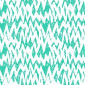 picture of zigzag  - Grunge hand painted abstract pattern with brushstrokes and zigzag lines with ethnic and tribal motifs in bright colors white and tropical aqua blue - JPG