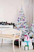 image of cozy hearth  - Christmas living room ddecoration - JPG
