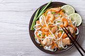 pic of rice noodles  - rice noodles with chicken shrimp and vegetables close - JPG