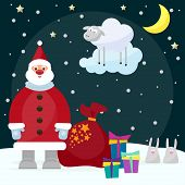 image of rabbit year  - funny cartoon picture for use in design on winter holiday greeting card with Santa Claus funny rabbits bright gifts and lamb the symbol of the new year year of the blue sheep - JPG