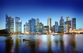 stock photo of singapore night  - Cityscape Singapore Panoramic Night Concept - JPG