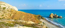 image of saracen  - The Saracen rock on the Paphos coastneighboring with the famous Petra tou Romiou and the Aphrodite harbor Cyprus - JPG
