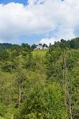 stock photo of naturel  - Little barn on top of a hill in the Pyrenees in Boussenac in France - JPG