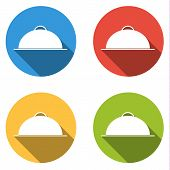 picture of serving tray  - Set of 4 isolated flat colorful buttons  - JPG